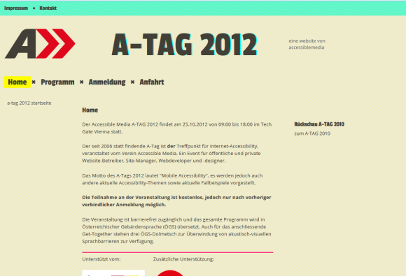 Screenshot Website ATAG 2012