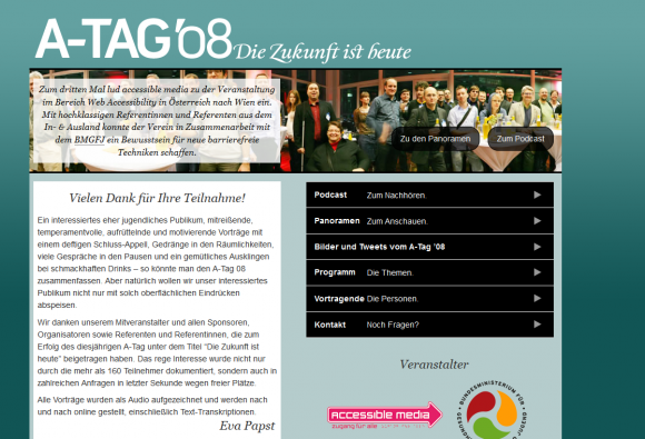 Screenshot Website ATAG 2008