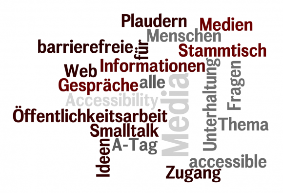 Tag Cloud mit Begriffen wie Plaudern, Accessibility, Smalltag, A-Tag, Medien etc.
